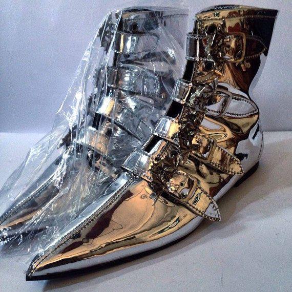 PALO metálico Goth Pikes plata hebillas botas Winklepickers