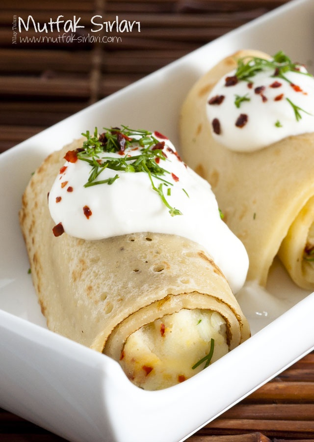 Patatesli Peynirli Krep Ruloları