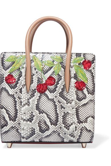 Christian Louboutin - Paloma Small Embellished Elaphe And Metallic Textured-leather Tote - Snake print - one size