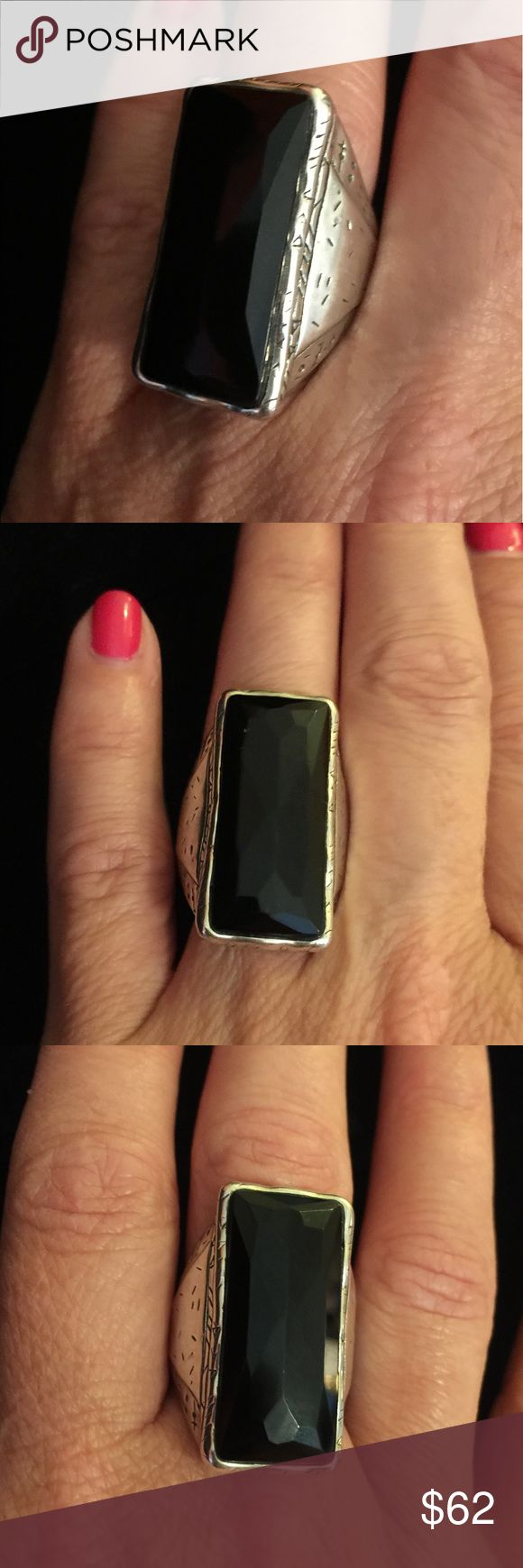 Silpada Designs Black Tie Ring Silpada Sterling silver, black onyx ring.  Size 9.  I'm a former rep and this was part of my table display.  Like new! Silpada Jewelry Rings