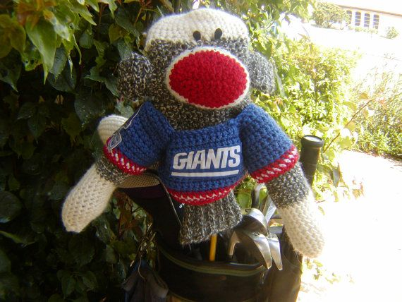 Sock Monkey Golf Club Cover  NY Giants or Your by pillowtalkswf, $40.00