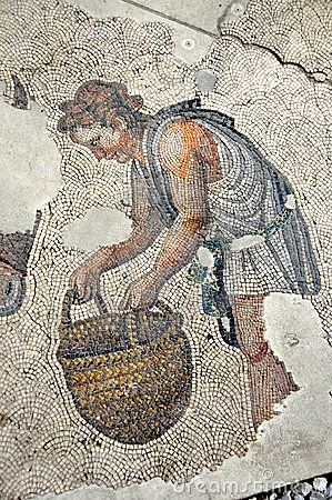 Basket From Ancient Rome | Ancient Roman Mosaic Stock Image - Image: 12125971