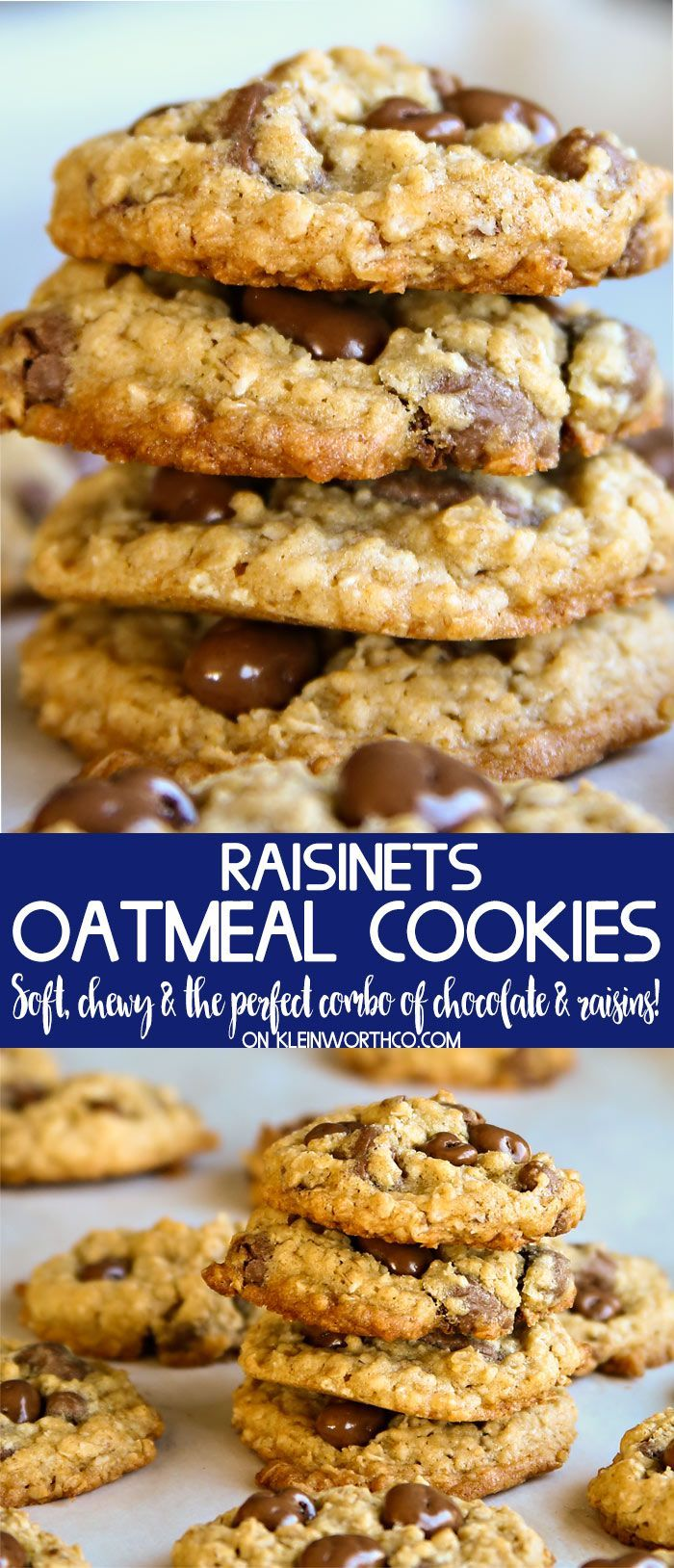 Chewy Raisinets Oatmeal Cookies are perfect when can't decide between adding raisins or chocolate chips to your favorite cookies. Easy no-chill recipe. via @KleinworthCo