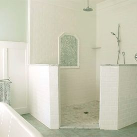 open shower - I love the idea of an open bathroom that could be hosed down with a drain in the floor