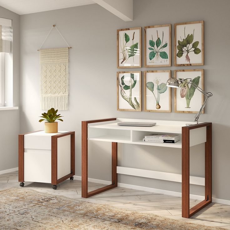 Voss 48W Desk With File Cabinet From Kathy Ireland Home By