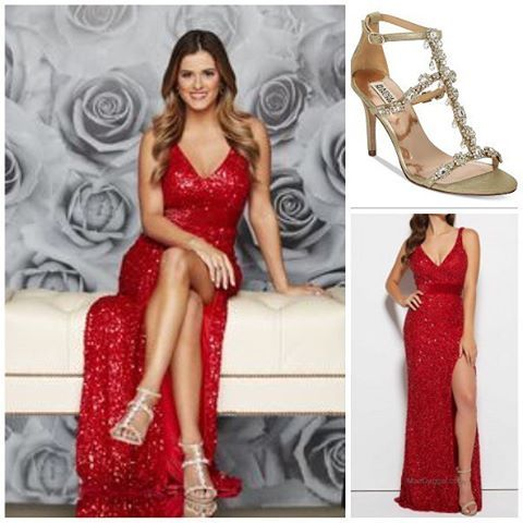 JoJo Fletcher Wore A Mac Duggal Gown And Badgley Mischka Sandals For The Bachelorette Photoshoot Shopping
