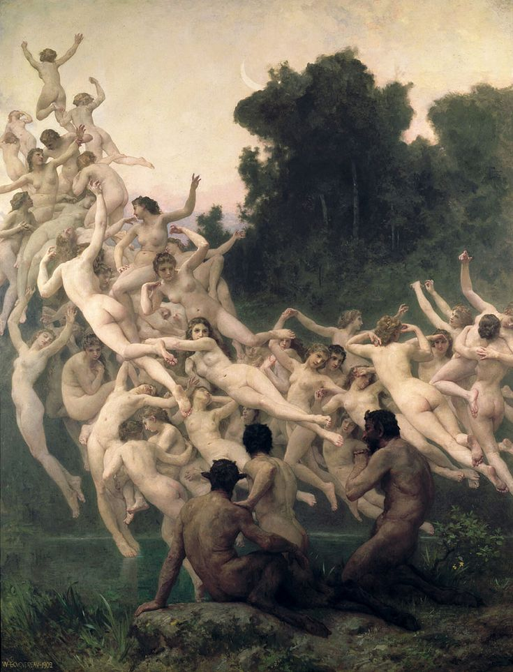 Bouguereau.  Les Oreades.  1902.  (In Greek mythology , the Oreads, orestiades, or orodemniades are the nymphs of mountains and caves . Among them was Echo .)