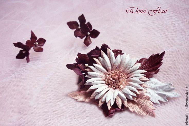 """Купить Кожаная брошь""""В плену розовой мечты"""" - комбинированный, осенние цветы, осень, марсала"""