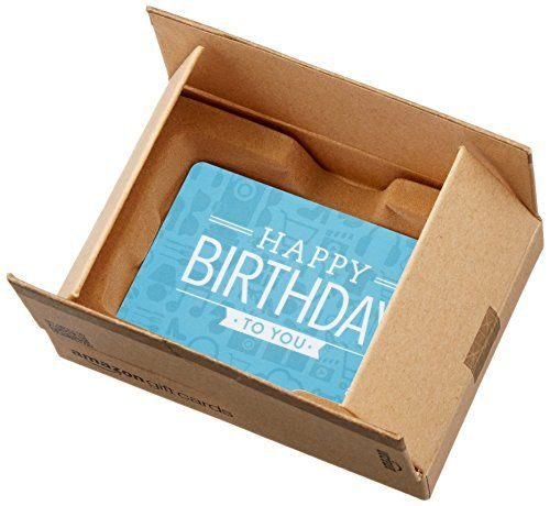 Amazon.com $75 Gift Card in a Mini Amazon Shipping Box (Birthday Icons Card Design)