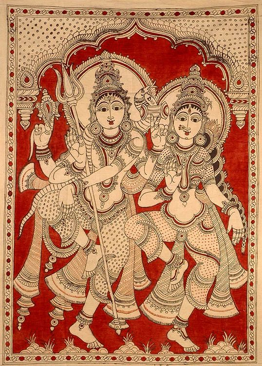 Cotton kalamkari picture of Lord Shiva and his consort Parvathi  dancing