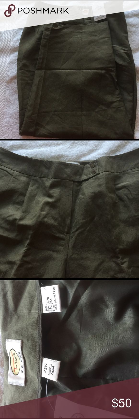 Women's plus size trousers Olive/Loden green Linen Silk blend trousers. Never worn New with tags. Button and zipper in front with elastic on sides for that extra give. Talbots Pants Trousers