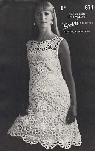 Vintage retro crochet dress pattern on Etsy.  Love this, may have to make one like it.