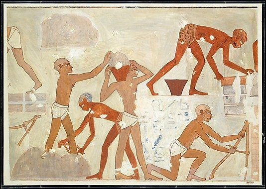 Making mud bricks from the tomb of Rekhmire (TT 100). Facsimile painting by Nina de Garis Davies. Courtesy of the Metropolitan Museum of Art, Rogers Fund, 1930 (30.4.77).