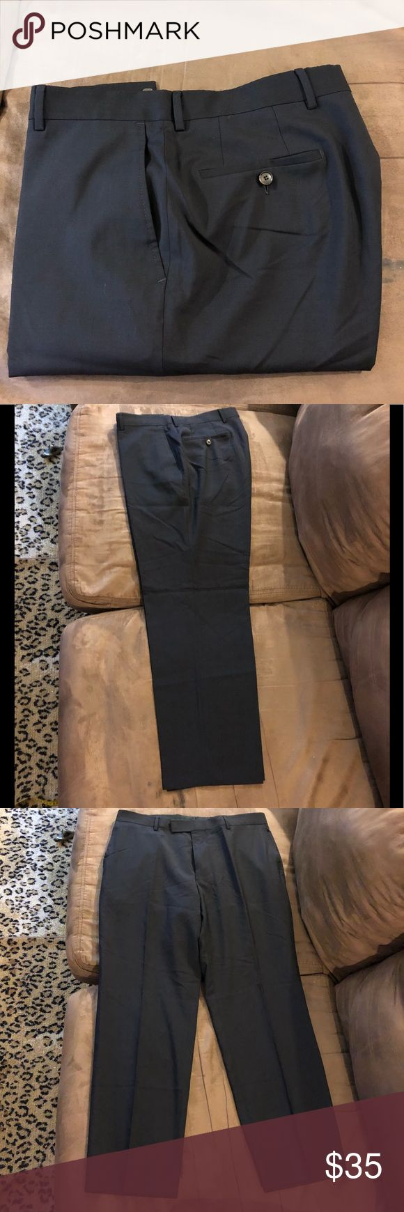 Hugo Boss Navy Blue Flat Front Dress Pants 36x31 Hugo Boss Solid Navy Blue Dress Pants size 36x31, Flat Front and Plain bottom! Great condition!  Please make reasonable offers and bundle! Ask questions :) Hugo Boss Pants Dress