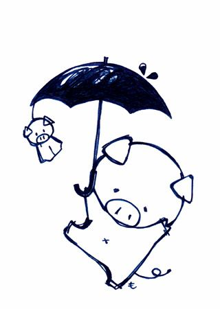 雨とぶたちゃん