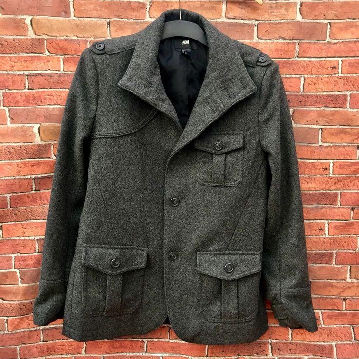 MENS COAT JACKET H&M 60% WOOL BLEND GREY chest Eur 52 H & M  PEA MILITARY WINTER