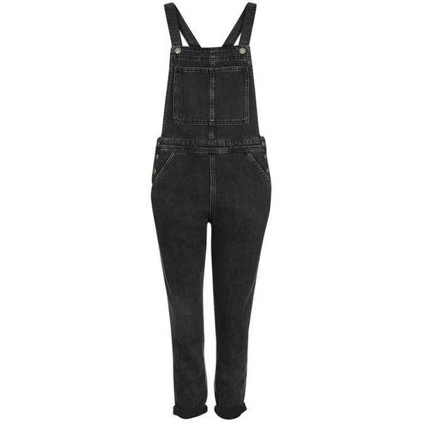 Topshop Moto Clean Denim Dungaree ($64) ❤ liked on Polyvore featuring jumpsuits, fitted jumpsuit, denim jumpsuit, topshop jumpsuit, long jumpsuits and denim dungaree