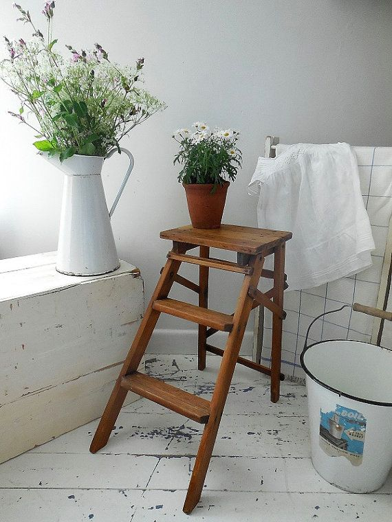 Amazing Small Vintage Step Ladder Kitchen Steps Step Stool Shelves Side  Table Display Storage With Kitchen Step Ladder Stool