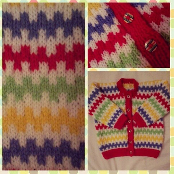 Rainbow baby cardigan detail. Matching rainbow buttons. Knitted with double knit.
