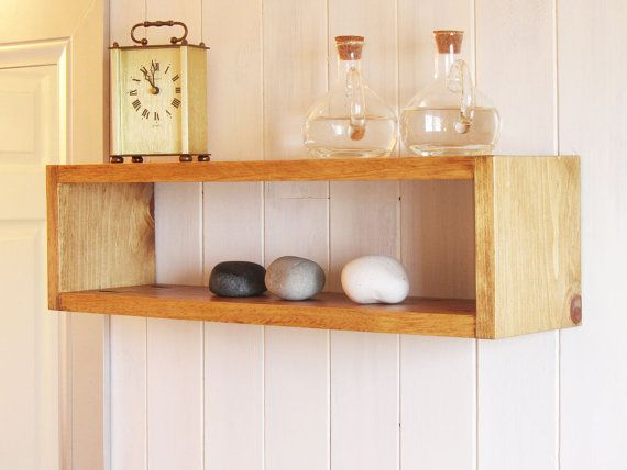 Simple Beautiful Floating Wood Cube Wall Shelf by SparkShellCraft