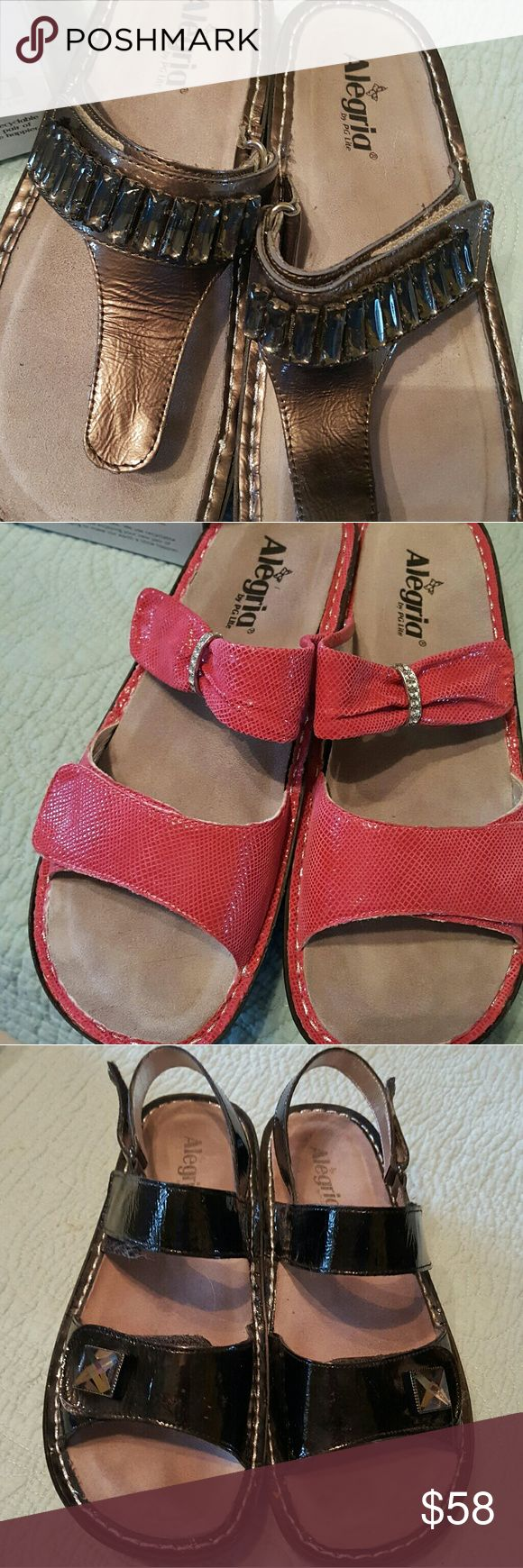Alegria Sandals Worn once just didn't like them on me. Very comfy. I have a black, pink, and bronze pair. Alegria Shoes Sandals
