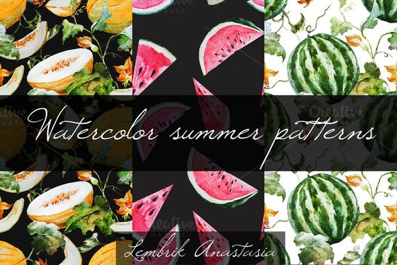 Watercolor summer patterns by Anastasia Lembrik on Creative Market