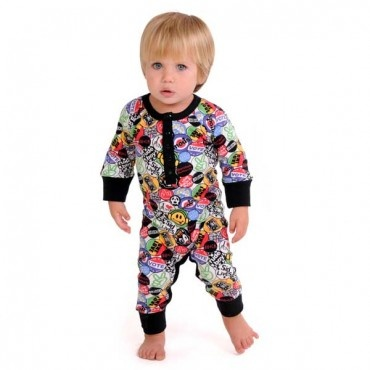 Retro Badges Long Sleeve Playsuit | Kids fashion
