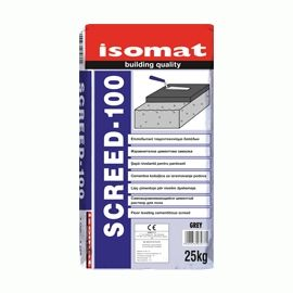 SCREED-100: Floor leveling cement mortar by ISOMAT. Cementitious screed for filling and leveling floors to be covered with tiles, marble, parquet etc., as well as for forming slopes on terraces. It replaces non-reinforced concrete or gas-concrete. Applied at a thickness of up to 10 cm per layer.