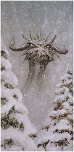 Snow, Ice, & Frost Dragons. Pinning because it's beautiful, but mostly because - well, LOOK AT THAT FACE! He looks SO irate. I love it.