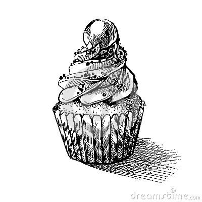 Vector black and white sketch illustration of cute creamy sweet cupcake. can be used for greeting cards or party invitations