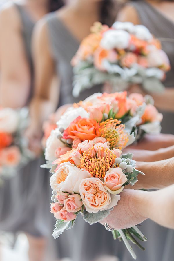 @Dayna // Inspiration for Decor Schuette how beautiful are these bouquets with the gray dresses!