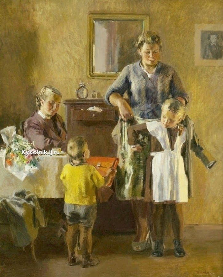 «Первоклассница» 1949. Васильев В.А. @@@@.....http://www.pinterest.com/spenceryang3000/education_russian/