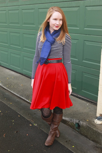 Day 24 Me Made May - Self drafted red circle skirt {via Jennifer Lauren Vintage}