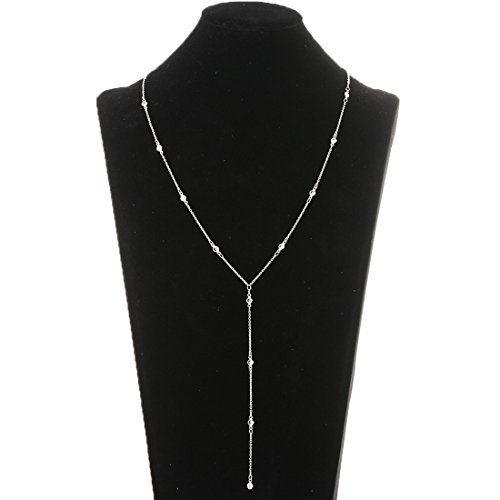 Lariatneck Y Lariat Necklaces for Women Long Drop Silver CZ Station Y Necklace Chain