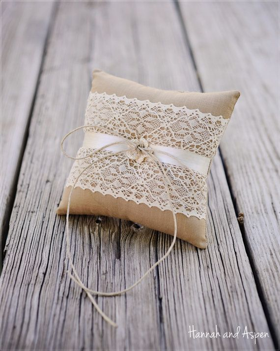 "Tarah - 6x6"" Wedding ring pillow - Wedding ring bearer - Ring pillow bearer - Burlap ring pillow"