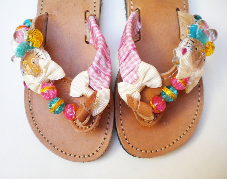 Leather Sandals with hello kitty, glass beads and ribbon. €35.00, via Etsy.