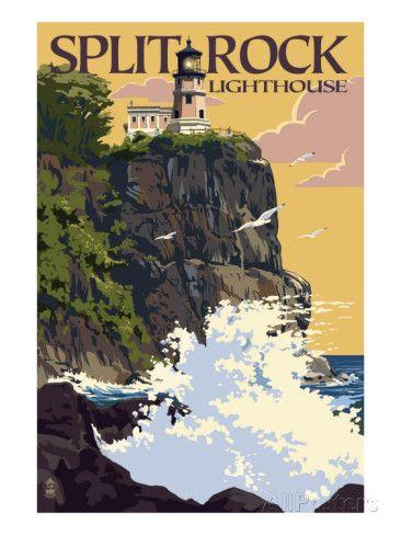 Split Rock Lighthouse - Minnesota Schilderij bij AllPosters.nl
