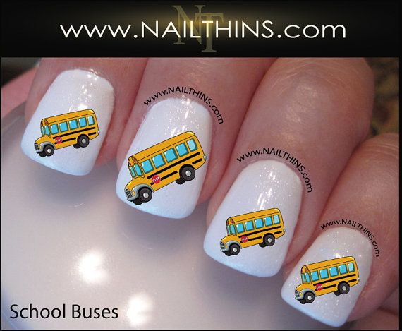 School Bus Nail Decal Bus Driver Nail Art Design by NAILTHINS, $3.75