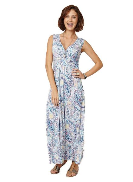 If you're looking for a dress to take you through the sunny seasons in true style and comfort, this is definitely it. A stunningly semi fitted dress, it is made from soft bamboo jersey with a beautiful paisley print. With flattering ruching under the bust, it falls graciously to the ankles and is sleeveless. A real seasonal sensation.