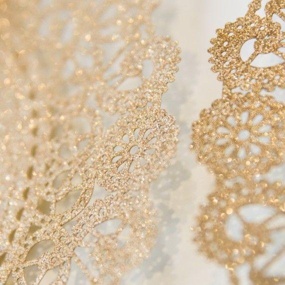Rustic Lace Glitter Paper Laser Cut Wedding Invitation