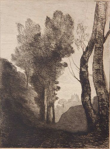Jean Baptiste Camille Corot (French 1796-1875)- ''Environs De Rome (Delteil 6 iii/III)- etching, 1866, slightly light struck, some minor foxing otherwise very good condition. 12 x 8 7/8''