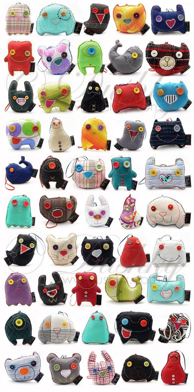Monster pillows made from recycled fabrics by Dushky Deea