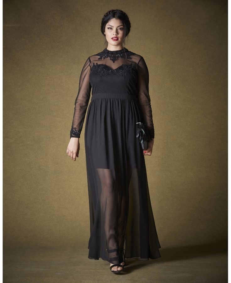 Gorgeous Plus Size Gown! Sheer Hem Maxi Dress At Simply Be