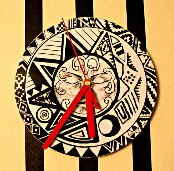 Wall Clock Handmade Aztec Sun Gift Black Red by NeshaHandmade