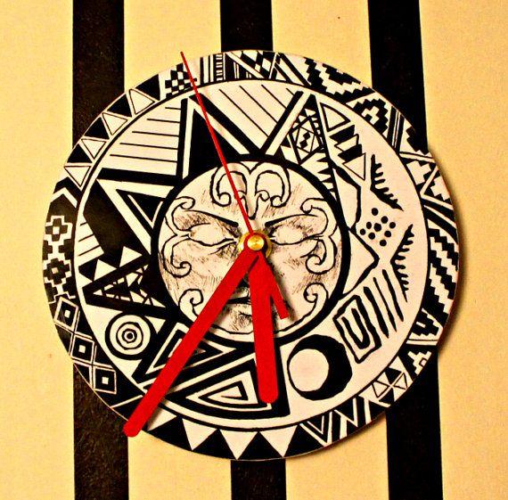 Wall Clock Handmade Aztec Sun Gift Black Red by NeshaHandmade