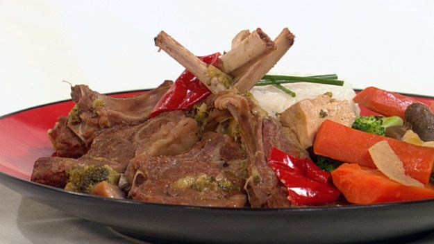 braised lamb cutlets with vegetables