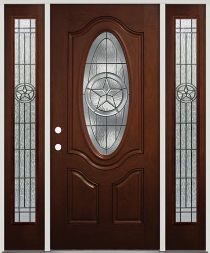Texas Star Mahogany Finish Fiberglass Front Door With