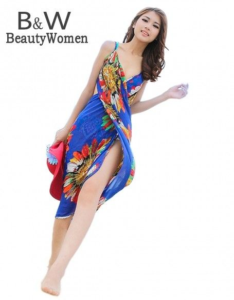 2015 Summer Women Sexy Beach Dress Deep V Wrap Chiffon Swimwear Bikini Set Cover Up Sarong Bohemian Casual Dresses SV21SV001144