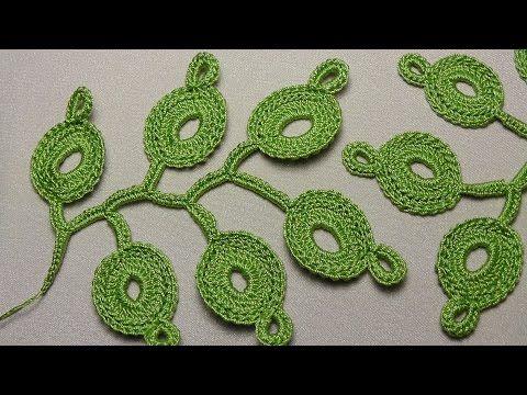 Как связать веточку листиков для ирландского кружева - урок вязания крючком…