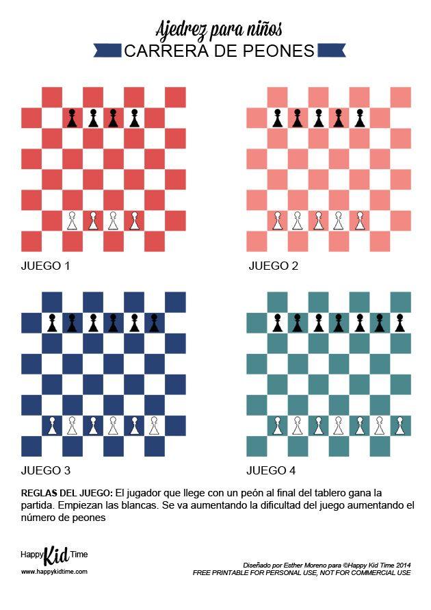 """Póster """"Carrera de peones"""" para que los niños aprendan a jugar al ajedrez http://happykidtime.blogspot.com.es/2015/01/ajedrez-para-ninos.html"""
